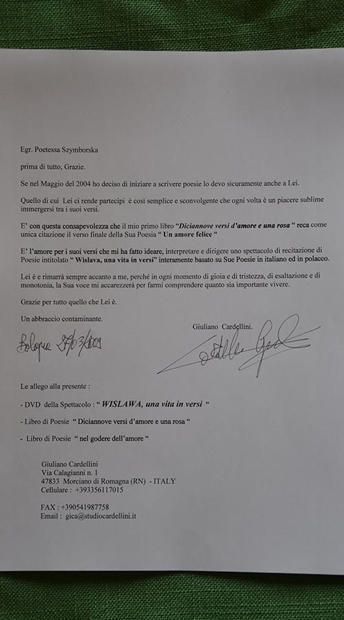 Lettera Szymborska Bologna