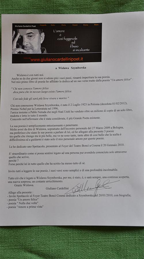 Lettera Comitato Szymborska